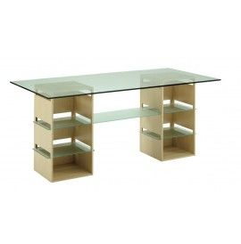 21/RE table exhibition consists of two wooden bases configurable and glass top