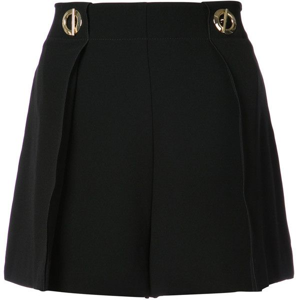 Derek Lam 10 Crosby Short With Grommet Detail (2,240 SAR) ❤ liked on Polyvore featuring shorts, black, eyelet shorts, wrap-around shorts, wrap shorts, mid rise shorts and 10 crosby derek lam