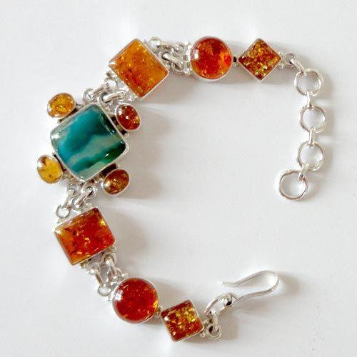 Solid 925 Sterling Silver Bracelet 8.00'' Agate Amber Gemstone Jewelry-9510