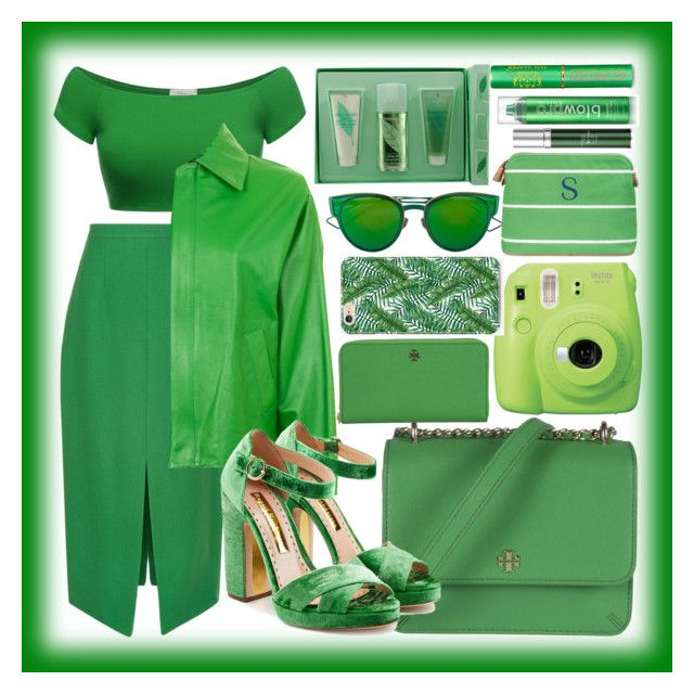 """""""#GREEN"""" by mileyharbee on Polyvore featuring Marco de Vincenzo, Topshop, Tory Burch, Rupert Sanderson, Fujifilm, Christian Dior, Cathy's Concepts, Elizabeth Arden, Tata Harper and blow"""