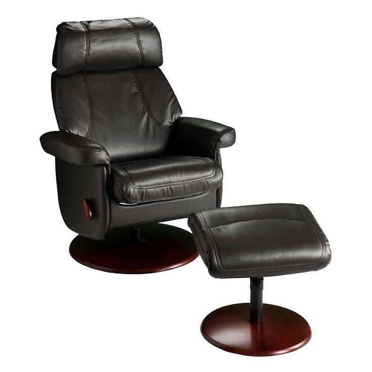 Swivel Glider Rocker Recliner Chair & Ottoman 2-piece Set, Black