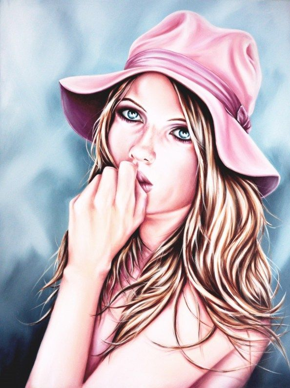 Pretty in pink. Beautiful portrait painting by Joe Mulligan. #valentinesday #valentine #gift #pink #beautiful #pretty #woman #art #painting #original #artwork #homedecor #wallart #style #design #giftart