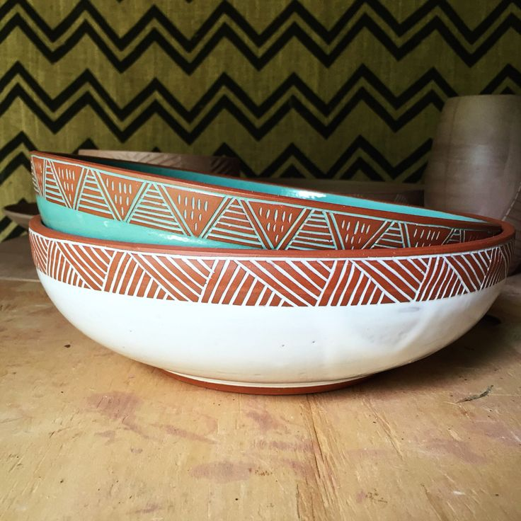 Serving Bowl with Carved Rim - Large Salad Bowl - Terracotta Handmade Ceramic Pottery - Red Clay Bowl - Modern Geometric Ethnic Simple by PotterybyOsa on Etsy https://www.etsy.com/listing/238969705/serving-bowl-with-carved-rim-large-salad