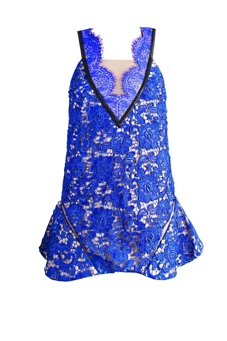 ABOUT A GIRL Blue Lace Dress - Give a girly twist to your summer: Modern and feminine dress by Three Floor in cobalt blue floral lace lined with non-transparent nude mesh. Features include: insert mesh panels, trumpet hem, faux leather trim and a deep 'V' neckline.  100% PolyesterLining: 90% Polyester 10% Elastane  Cool hand wash