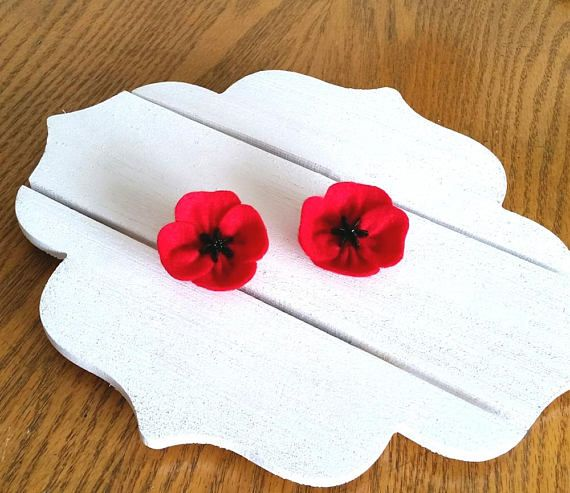 Valentines gift  Red Poppy Flower Brooch for Remembrance Day