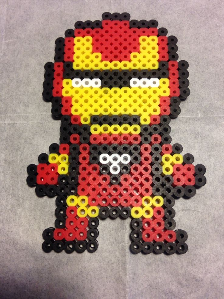 Superhero iron man from marvels avengers perler bead
