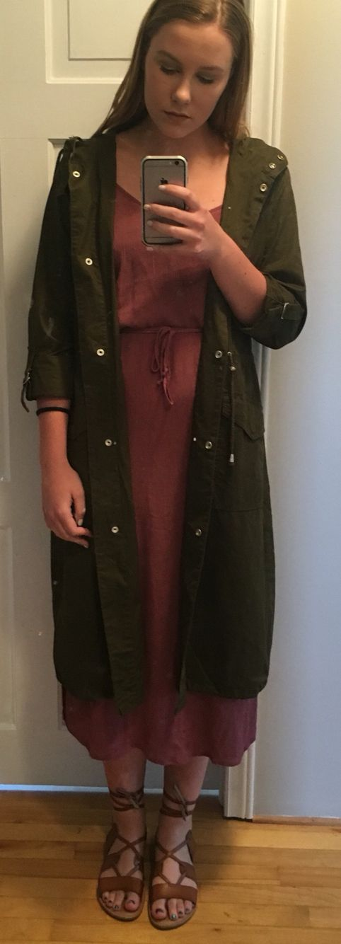 green trench coat: blue notes, midi dress: urban planet, lace up sandals: old navy