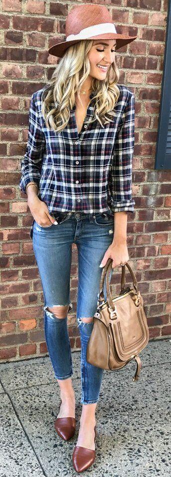 #fall #trending #outfits    Plaid + Denim