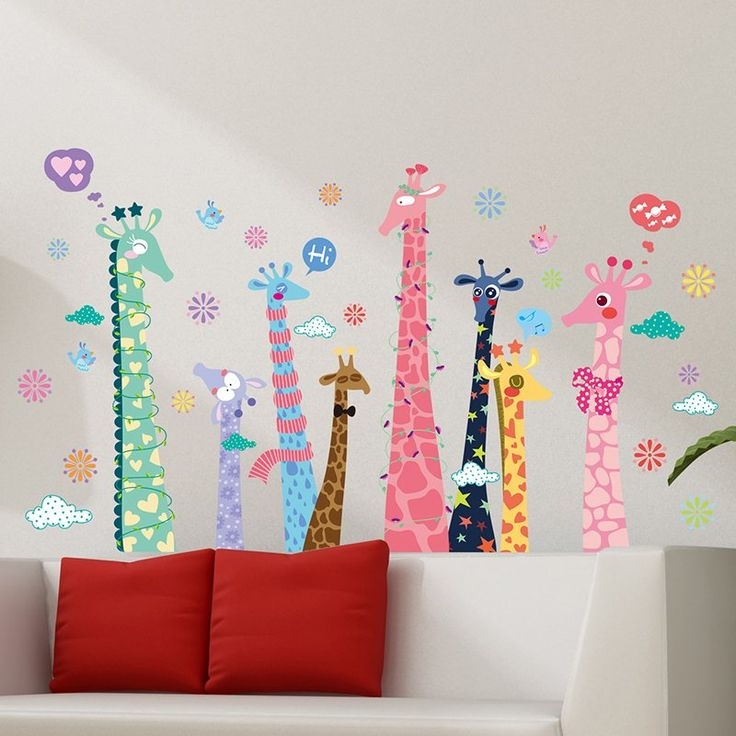 Kids nursery stickers, Fun Giraffe Stickers for your Child's Wall