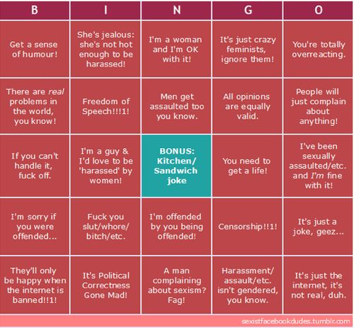 Feminism Social Media Bingo