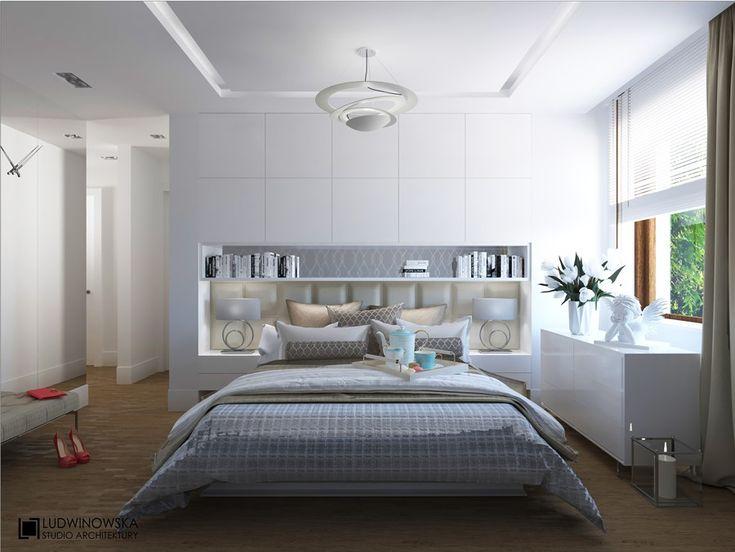 Projekt sypialni z zabudowanym wezgłowiem łóżka - Architektura, wnętrza, technologia, design - HomeSquare