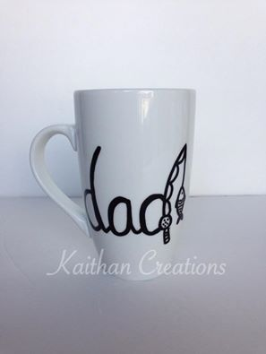 12oz Dad Mug with fishing rod by Kaithan Creations. Can be personalized. Visit my Facebook page to place your order. https://www.facebook.com/kaithancreations/photos/a.477422192457533.1073741846.216663808533374/489573934575692/?type=3