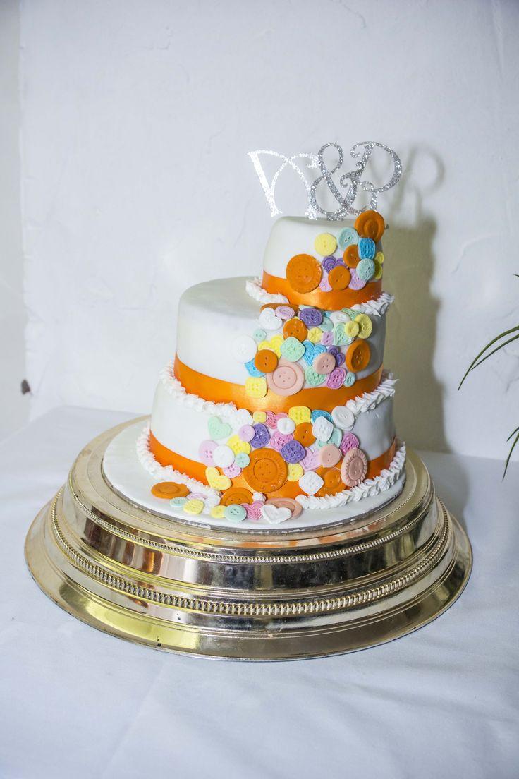 3 tier colour coordinated button cake.