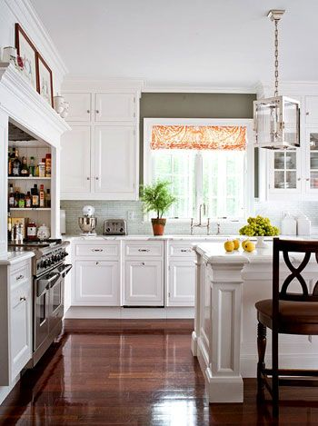 pretty kitchen with white cupboards by Christopher Peacock as seen in traditionalhome.com: Stove, Interior, Wall Color, Kitchen Ideas, White Cabinets, White Kitchens