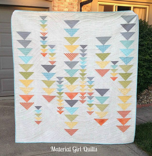 """I love the fun mix of little geese and big geese in this """"Heading South"""" quilt by Amanda Castor of Material Girl Quilts."""