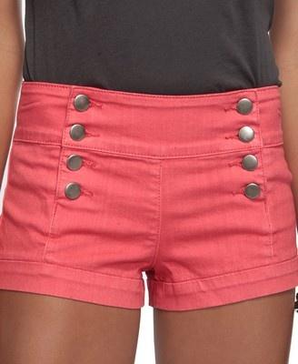 Pink sailor shorts.: Pink Shorts, Summer Fashion, Sailors Shorts, Dreams Closet, Cute Shorts, Buttons, Highwaist, Coral Shorts, High Waist Shorts