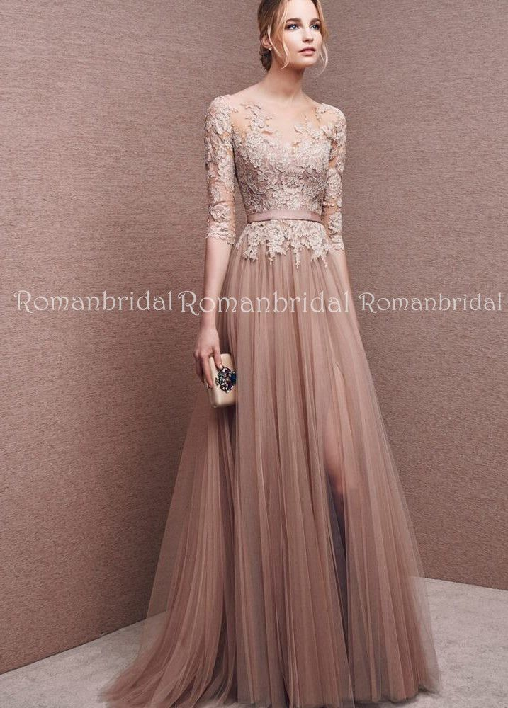 2018 Newest floor-length Long sleeves round neck evening gown 12b107b28341