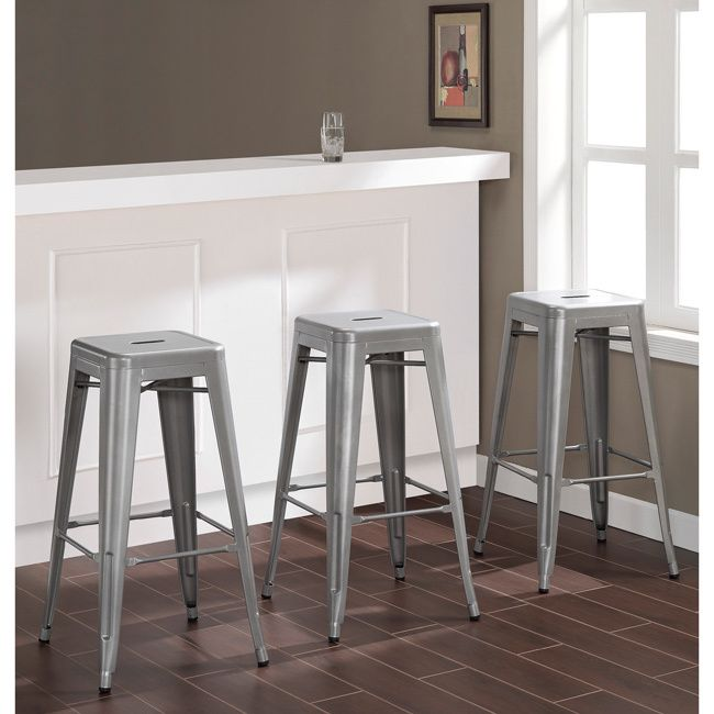 Tabouret 30 Inch Silver Metal Barstools Set Of 2 With Bonus Stool Metal S