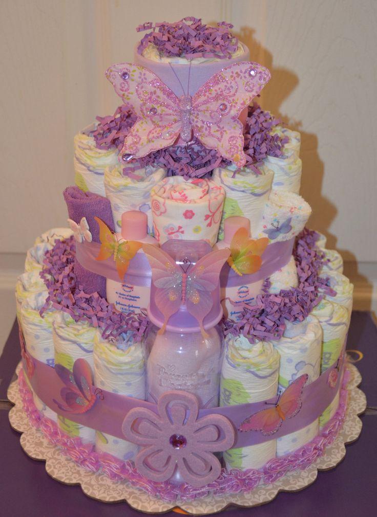 Custom Purple Butterfly Diaper Cake For Roslyn Reserved