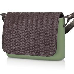 Brown Braided Flap - O Pocket accessory Shoulder Bag
