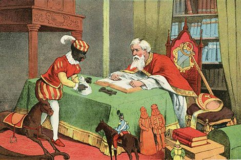 illustration ......checking to see who was naughty or nice?? early 1900's print