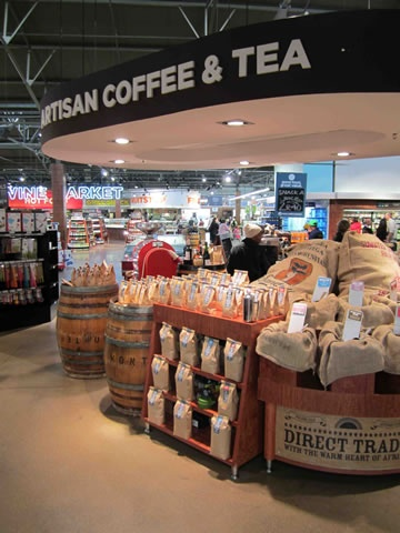 Artisan coffee and tea for customers to enjoy inside the store or to take home - at Food Lover's Market Hillfox, Johannesburg, SA.  See the full store visit here: http://www.supermarket.co.za/flipbooks/Supermarket_Retailer/November%202012/index.html