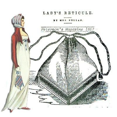 A reticule, also known as a ridicule or indispensable, was a type of small handbag, similar to a modern evening clutch. At first, the reticule was made of netting, then evolved to all kinds of fabrics, including velvet, silk, and satin.