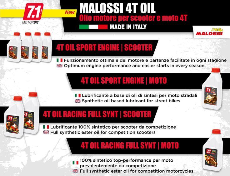 Scopri tutti gli oli per motori a 4 Tempi della linea 7.1 Malossi: per un elevato rendimento del motore di scooter e moto, sia da strada che da competizione ➠ http://www.malossi.com/olio-malossi-lubrificanti-4-t-7-1/  Find out the 7.1 Malossi lubrificants for 4-stroke engines: for high engine efficiency ➠ http://www.malossi.com/en/malossi-oil-4-stroke-7-1-line/