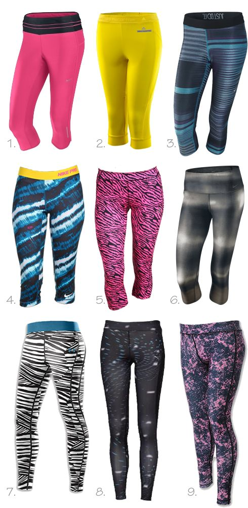 Running style: bright tights...I want all of these capri style for when it gets warmer