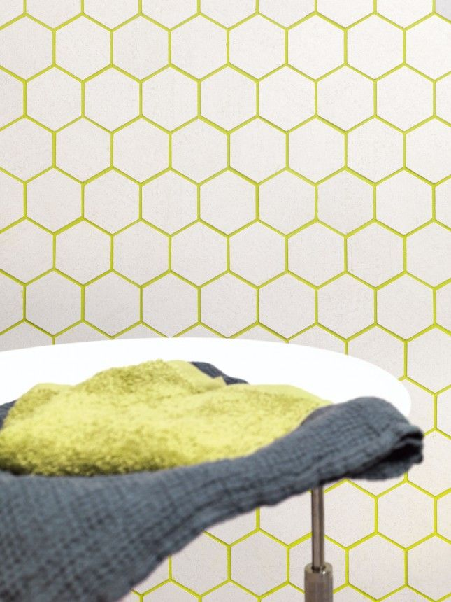 It's hard not to love this bright grout + geometric tile combo.