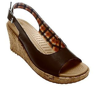 Crocs A-Leigh Wedge Leather Sandals