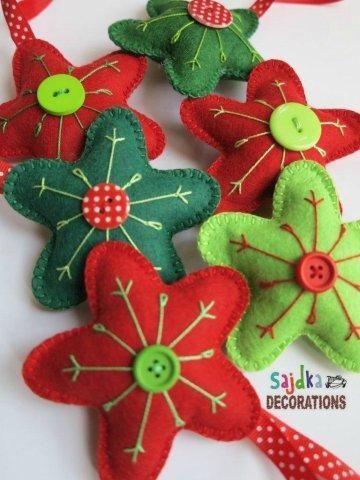 vánoční hvězdy z plsti