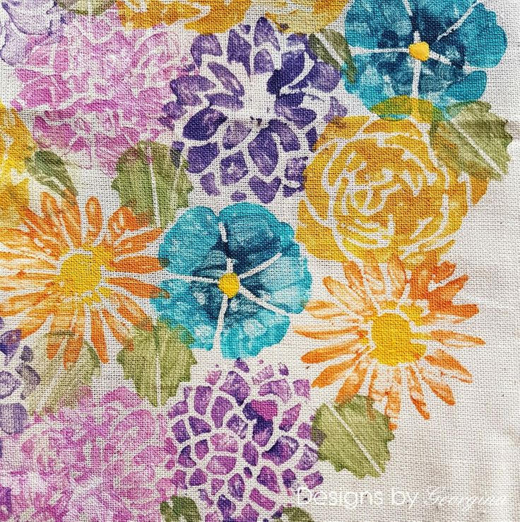Have you tried stamping onto fabrics? I have used Calico fabric for this sample and stamped with PaperArtsy Fresco Finish paints. The weave of the calico makes a lovely background and texture for the flowers.  My solid flowers and leaves stamps from my Designs by Georgina Floral Silhouettes stamp set are ideal for this technique.  http://www.designsbygeorgina.co.uk/product/floral-silhouettes/