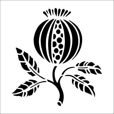 Pomegranate Solo stencil from The Stencil Library BUDGET STENCILS range. Buy stencils online. Stencil code CS20.