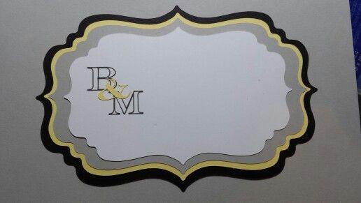 Wedding invitation yellow grey black