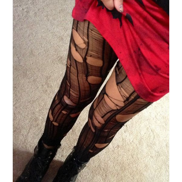 Ripped to Shreds Rocker Tights! ($16) ❤ liked on Polyvore featuring intimates, hosiery, tights, leggings, pants, bottoms, socks, sexy pantyhose, footless stockings and sexy stockings
