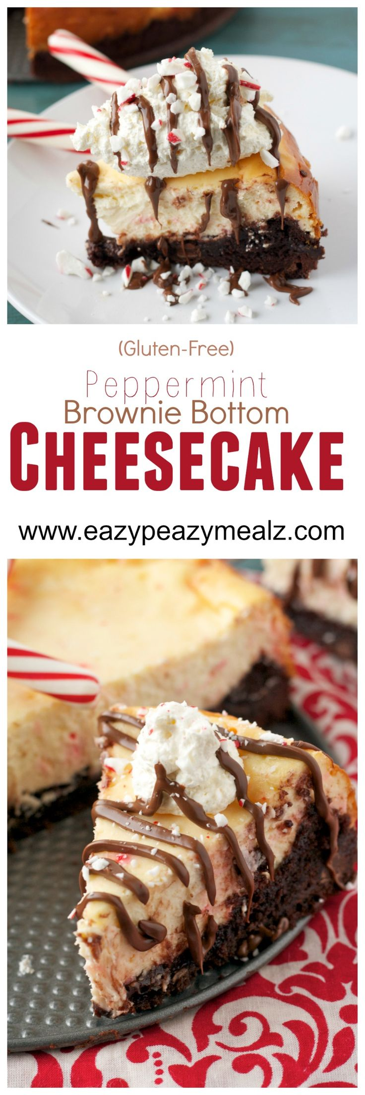 Easy Gluten-Free Peppermint Brownie Bottom Cheesecake: This is the easiest cheesecake to make! And tastes seriously amazing. Perfect for Valentine's Day! - Eazy Peazy Mealz