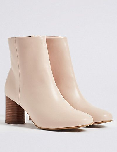 Side Zip Round Heel Ankle Boots