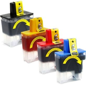 Brother LC41 compatible ink cartridges. Package includes 1 black, 1 cyan, 1 magenta and 1 yellow ink cartridge - 4-Pack