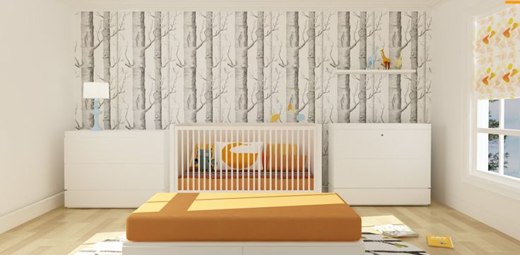 ducduc nursery with trees wallpaper from cole & son.