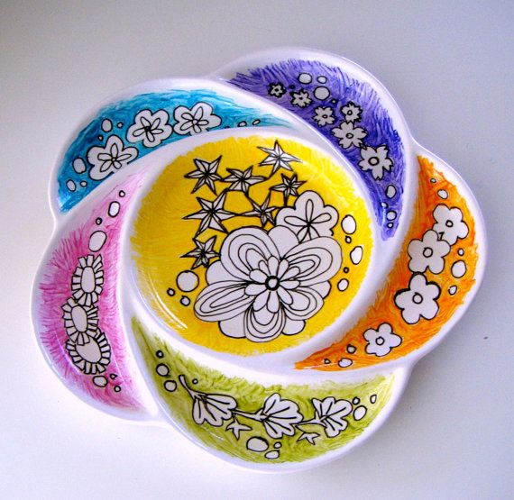 Ceramic Plate Serving Platter Flower Modern Asian by sewZinski, $30.00