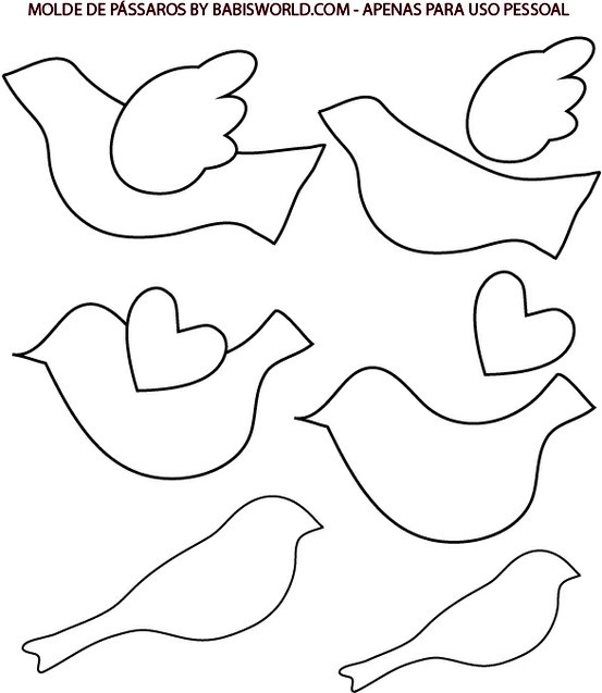 Molde o patrón para manualidad en fieltro o tela con forma de pájaro