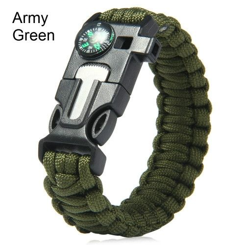 5 in 1 Outdoor Survival Gear Escape Paracord Bracelet Flint / Whistle / Compass / Scraper Paracord survival bracelet is essential for all camping, outdoor and wilderness adventures. Paracord survival