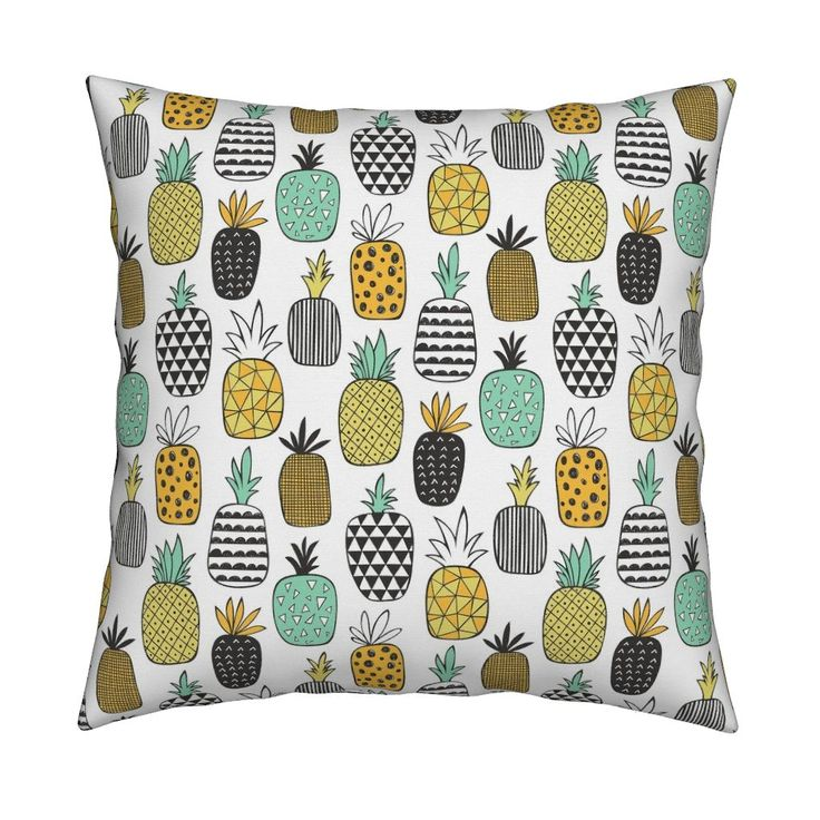 Catalan Throw Pillow featuring Pineapple Geometric on White by caja_design