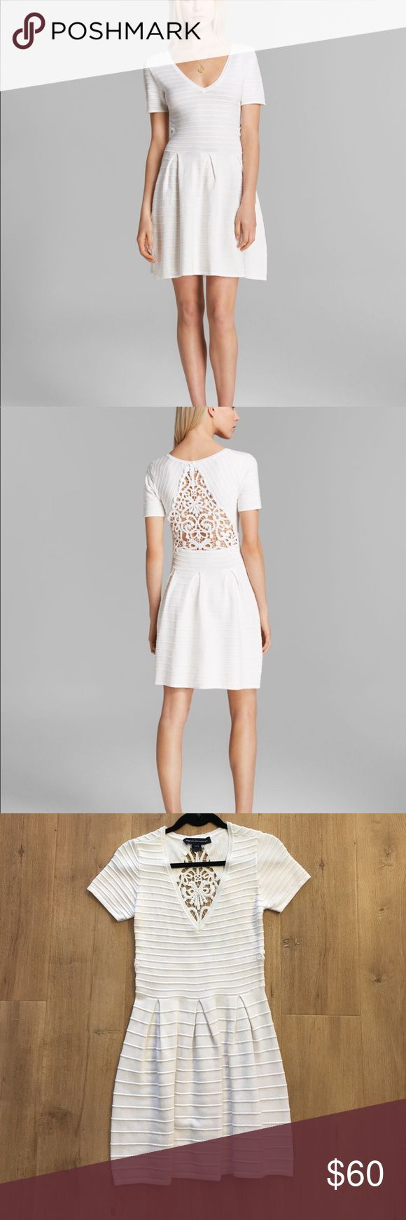French connection lace back grace knit dress In perfect condition worn once. White dress with soft stretchy but thick material. Still for sale retailing at 158 French Connection Dresses