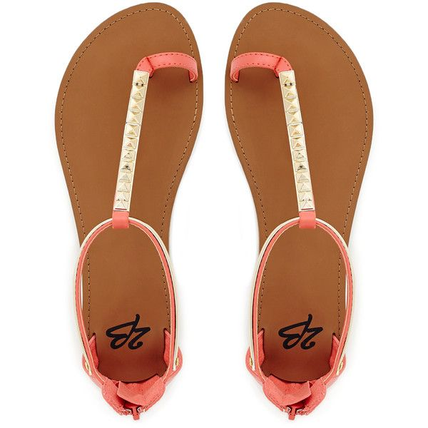 Bellini Flat Sandals (715 UYU) ❤ liked on Polyvore featuring shoes, sandals, flats, sapatos, zapatos, coral, studded sandals, toe thongs, coral flat sandals and flat thong sandals