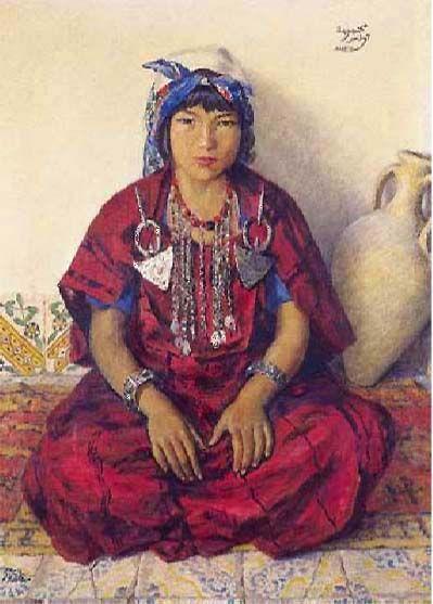 Alexandre Roubtzoff, Mahbouba en rouge, 1941. Tunis.