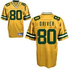 Reebok Green Bay Packers Donald Driver 80 Yellow Authentic Jerseys Sale