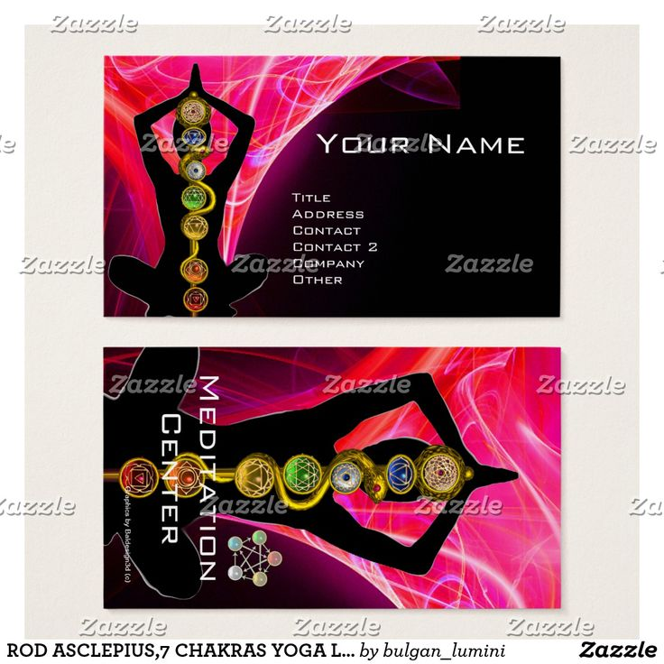 ROD ASCLEPIUS,7 CHAKRAS YOGA LOTUS POSE Pink Black Business Card  #healer #meditation #health #chackra #healing