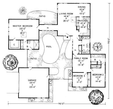 u shaped house plans with central courtyard - Google Search